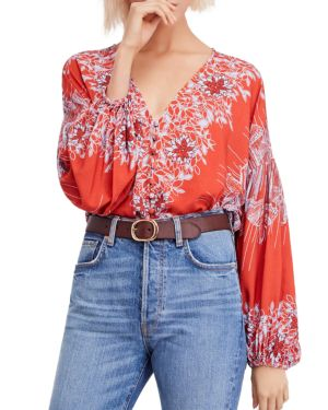 Floral-Print V-Neck Blouse, Red