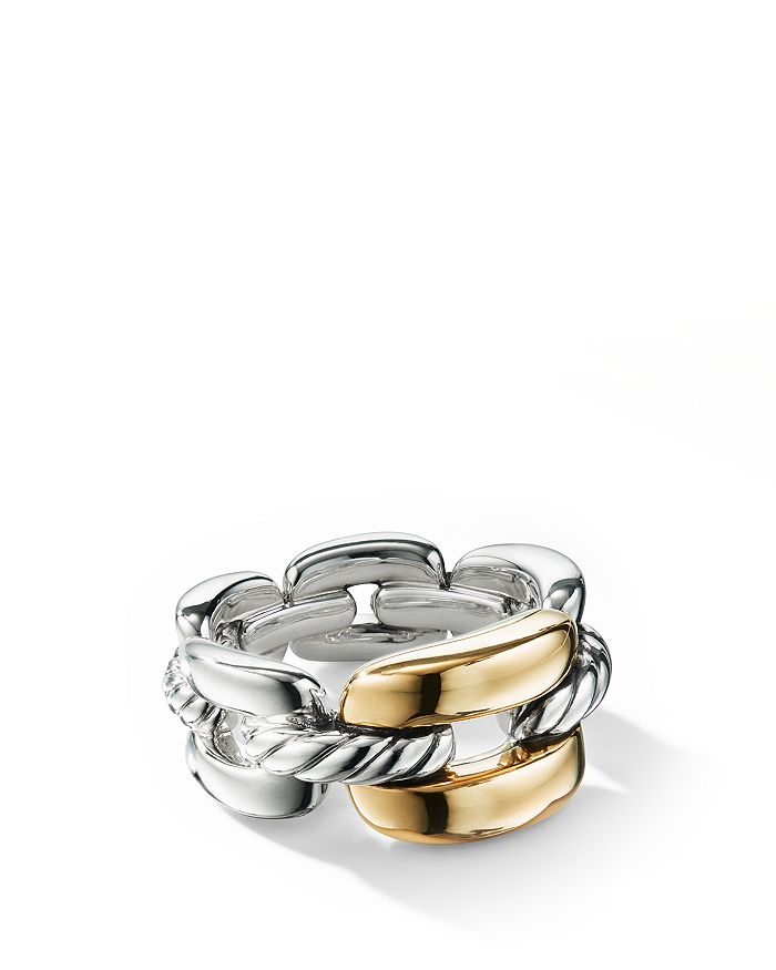 David Yurman - Wellesley Link Medium Chain Link Ring in Sterling Silver with 18K Yellow Gold