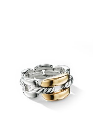 WELLESLEY LINK MEDIUM CHAIN LINK RING IN STERLING SILVER WITH 18K YELLOW GOLD