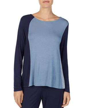 DONNA KARAN LONG-SLEEVE COLORBLOCK TOP