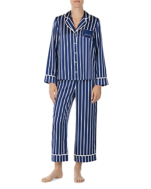 kate spade new york Cat Striped Satin Long Pj Set