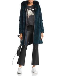 Maximilian Furs - Hooded Beaver Fur Coat with Fox & Mink Fur Trim- 100% Exclusive