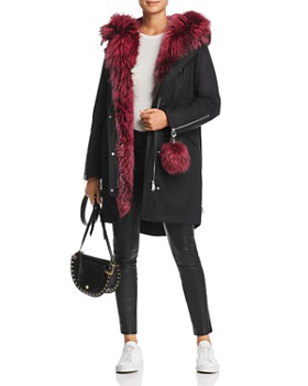 Maximilian Furs - Rabbit Fur-Lined Parka with Fox Fur Trim- 100% Exclusive