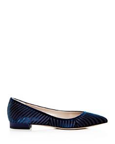 Giorgio Armani - Women's Velvet & Satin Stripe Pointed Toe Ballet Flats