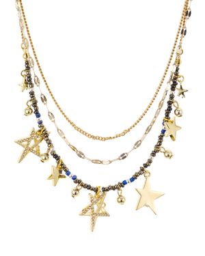 Multi-Star Layered Necklace, 17, Multi/Gold