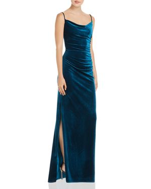 Laundry by Shelli Segal Ruched Velour Side Slit Dress - 100% Exclusive 3081950