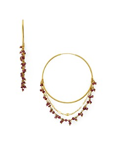 Chan Luu - Stone Cluster Layered Hoop Earrings