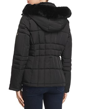 Calvin Klein - Hooded Faux Fur Trim Coat