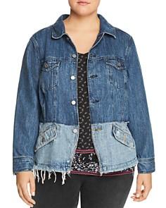 Lucky Brand Plus - Shrunken Two-Tone Denim Jacket