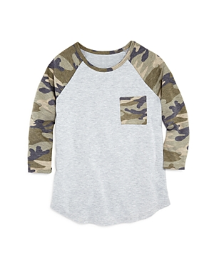 Aqua Girls' Camo-Print Raglan Tee, Big Kid - 100% Exclusive
