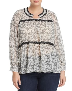 Vince Camuto Plus Ditsy Roses Ruffle-Trimmed Top