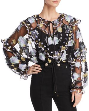 ALICE MCCALL Ruffled Embroidered Tulle Blouse in Black