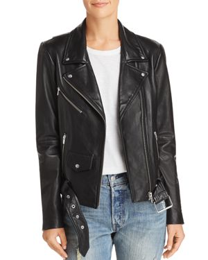 VEDA Jayne Classic Belted Leather Jacket in Black
