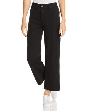 Nellie Clean-Front Denim Culottes In Black Overdye