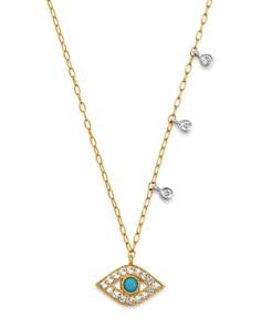 "Meira T - 14K Yellow Gold & 14K White Gold Diamond & Turquoise Evil Eye Adjustable Pendant Necklace, 18"""