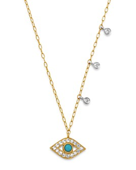 Meira T - 14K Yellow Gold & 14K White Gold Diamond & Turquoise Evil Eye Adjustable Pendant Necklace, 18""