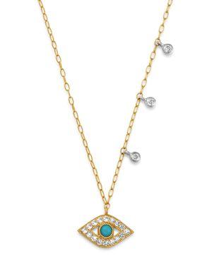 MEIRA T 14K YELLOW GOLD & 14K WHITE GOLD DIAMOND & TURQUOISE EVIL EYE ADJUSTABLE PENDANT NECKLACE, 18
