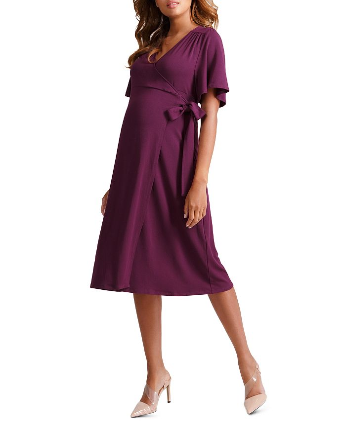 Ingrid & Isabel MATERNITY FLUTTER-SLEEVE WRAP DRESS