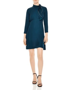 Skin Studded Tie-Neck Dress in Blue