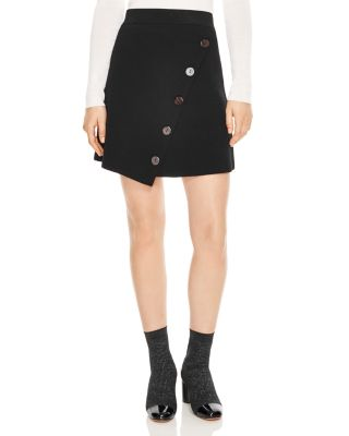 Fiji Asymmetric Decorative Button Skirt by Sandro