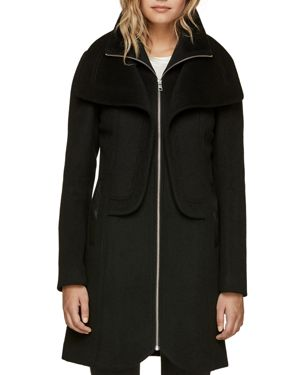 SOIA & KYO Double Collar Coat in Black