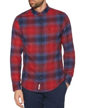 ORIGINAL PENGUIN Faded Plaid Regular Fit Button-Down Shirt in Biking Red