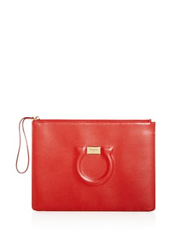 Salvatore Ferragamo - Gancini City Medium Leather Wristlet