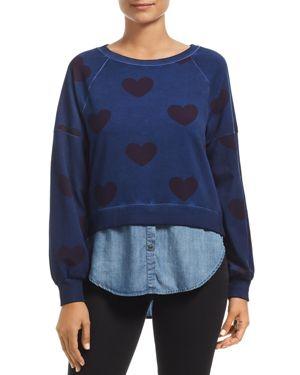 BILLY T Heart Print Chambray Shirttail Sweatshirt in All Heart Acid Blue