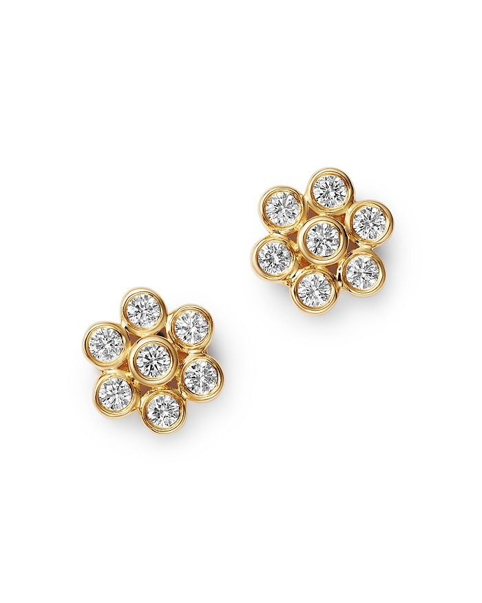 Diamond Bezel Set Flower Stud Earrings In 14k Yellow Gold 0 45 Ct T W 100 Exclusive
