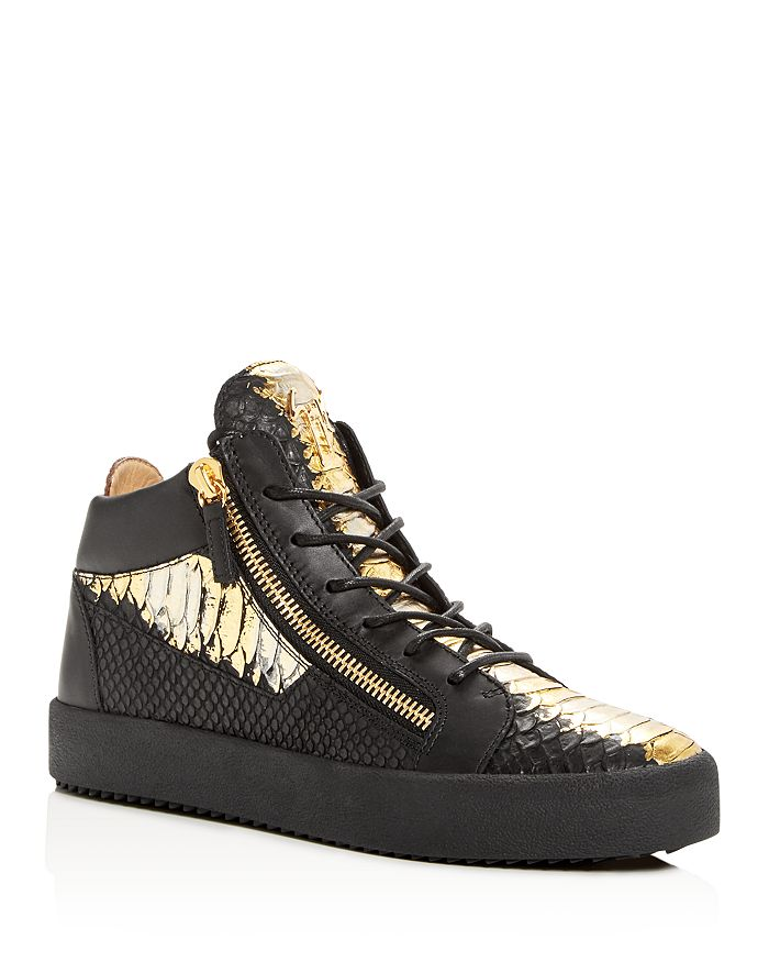 130b2dc87eb2c Giuseppe Zanotti - Men's Painted Croc-Embossed Leather Mid Top Sneakers