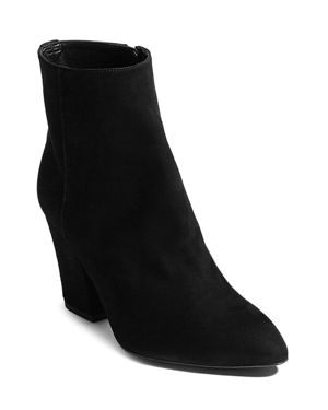Women'S Pointed Toe Studded Leather Block High-Heel Booties in Black