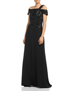 Tadashi Petites - One-Shoulder Sequin Bodice Gown