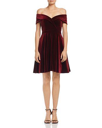 AQUA - Off-the-Shoulder Velvet Fit-and-Flare Dress - 100% Exclusive