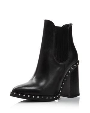 Women'S Scandal Pointed Toe Studded Leather Booties, Black Leather