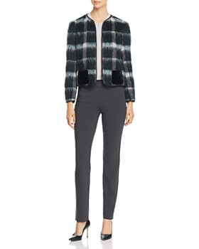 Emporio Armani - Fur-Effect Wool-Blend Plaid Jacket