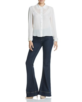 Alice and Olivia - Noreen Embellished Pintuck Silk Blouse