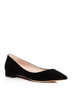 Armani Collezioni WOMEN'S SUEDE POINTED TOE BALLET FLATS