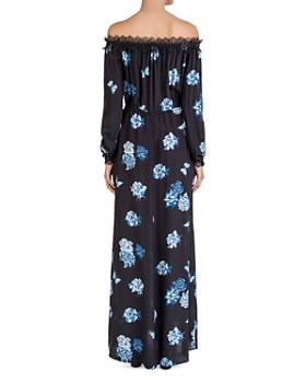 The Kooples - Silk Off-the-Shoulder Rose-Print Maxi Dress