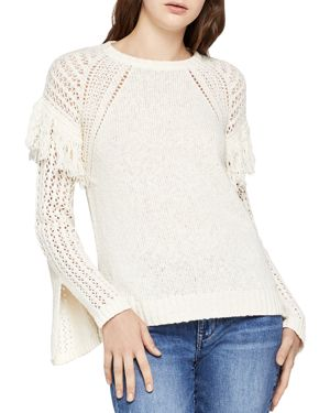 BCBGeneration Fringe-Trim Slit-Sleeve Sweater