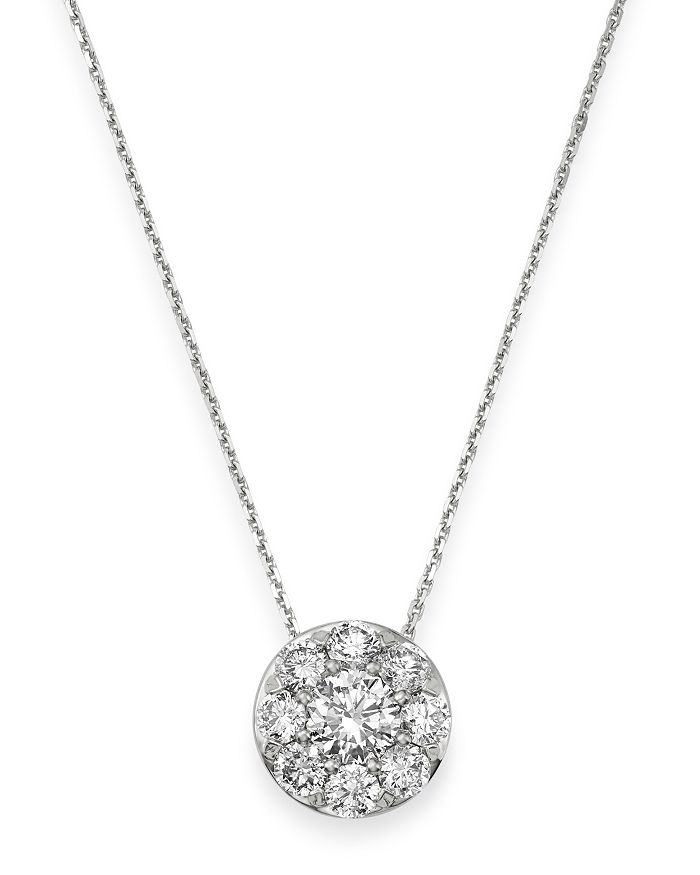 Bloomingdale's DIAMOND CIRCLE MEDIUM PENDANT NECKLACE IN 14K WHITE GOLD, 0.50 CT. T.W. - 100% EXCLUSIVE