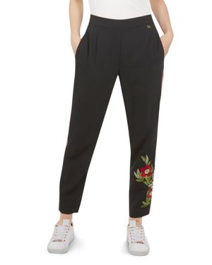 Madlyne Embroidered Track Pants, Black