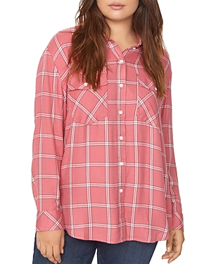 Sanctuary Plus Boyfriend for Life Plaid Top