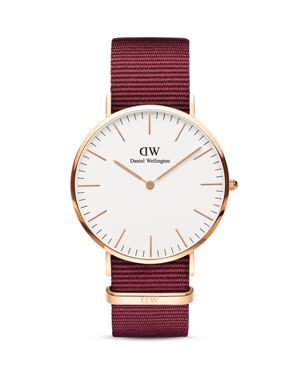 40Mm Classic Roselyn Watch W/ Nylon Strap in Red/ White/ Rose Gold