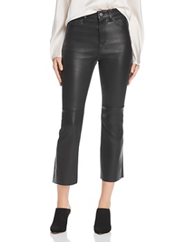 Current/Elliott - High-Rise Kick Flare Leather Pants