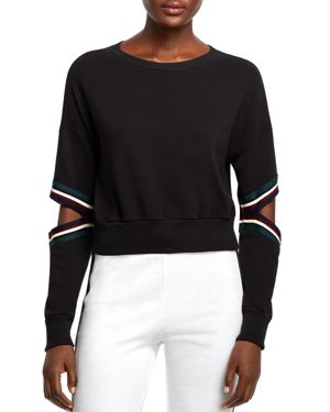 MICHELLE BY COMUNE Michelle By Comune Orondo Cutout Cropped Sweatshirt in Black