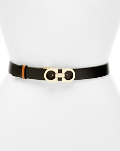 Salvatore Ferragamo - Gancini Slim Reversible Leather Belt