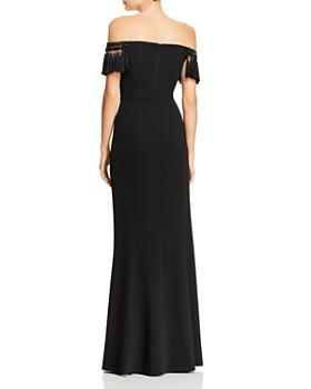 Aidan Mattox - Off-the-Shoulder Tasseled Gown