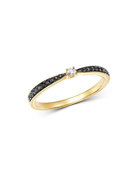 Bloomingdale's - Black Diamond & White Diamond Ring in 14K Yellow Gold - 100% Exclusive