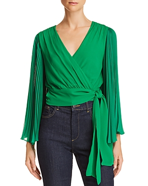 Alice + Olivia Bray Pleated-Sleeve Silk Wrap Top