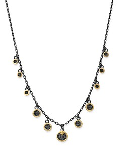Armenta - 18K Yellow Gold & Blackened Sterling Silver Old World Pavé Champagne Diamond & Black Sapphire Multi Disc Adjustable Dangle Necklace, 17.5""